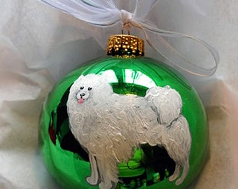 American Eskimo Dog Hand Painted Christmas Ornament - Can Be Personalized with Name