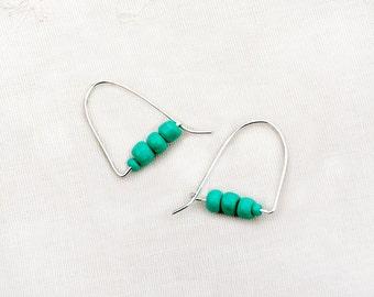 Perles d'argent Hoop boucles d'oreilles bijoux en argent boucles d'oreilles Turquoise ombre boucles d'oreilles Boucles d'oreilles turquoise Boucles d'oreilles livraison gratuite d'Israël