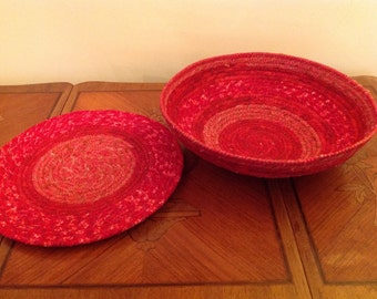 Red Fabric Coiled Basket and Table Topper Set