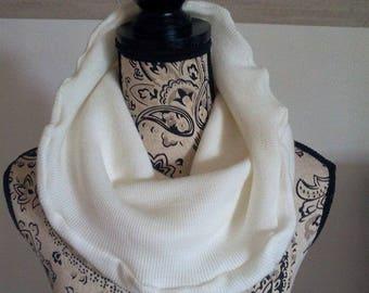 Snood scarf mixed cream ribbed knit