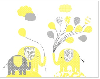 Elephant Nursery Art, Gender Neutral Baby Decor, Elephant Baby Decor, Grey and Yellow, Baby Shower Gift, Baby Art Print, Nursery Wall Decor