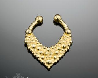 Fake Septum Gold Fake Septum Ring Faux Septum, Tribal Septum Ring, Indian Septum Ring, Fake Piercing, Septum Clip, Septum Cuff