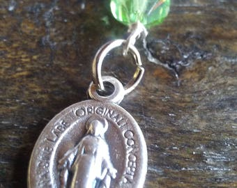 Miraculous Medal with Green Swarovski Crystal