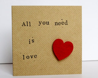 All you need is love, Wedding card , I love you card