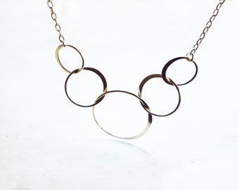 Silver Linked Circles Necklace in Sterling Silver - Five Entwined Sterling Silver Circles Necklace