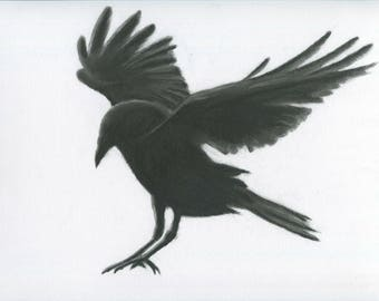 """Charcoal Crow, 11""""x14"""" ORIGINAL Crow Drawing,  Charcoal Raven , Raven drawing, Crow Sketch, Crow Art, Crow Flying, Crow taking off"""