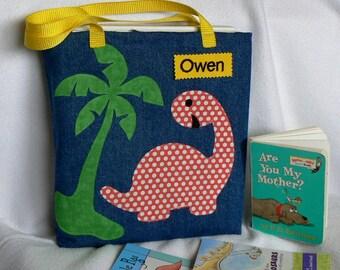 Dinosaur Tote Bag|Library Book Bag|Personalized Tote Bag|Children's Book Bag|Preschool bag|Toddler bag|Kids Dinosaur Tote|Kindergarten Bag