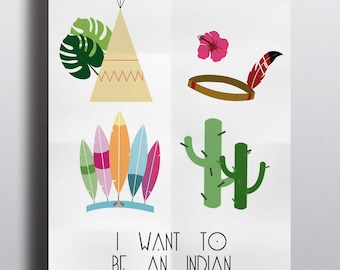 """Indian Package"" A4 poster cactus teepee feather headdress"