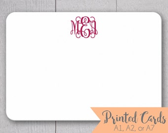 Monogrammed Note Cards - 24pk, Initialed Note Cards, Personalized Flat Note Cards, Printed without Envelopes (NC-014)