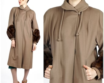 Vintage 30's/40's Brown Wool Coat with Soft Fur Cuff Sleeves by the Marston Company San Diego | Small Medium