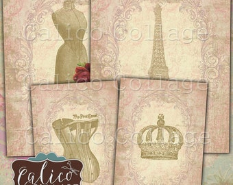 Printable, Digital, Collage Sheet, Junk Journal, Printable Tags, Paris Chic, Vintage Ephemera, Sewing, Paris, Roses, Instant Download