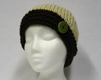 Bulky Contrast Brim Hat knitting PATTERN - warm bulky knit stocking hat - permission to sell finished items