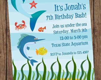 Under the Sea, Underwater, Ocean Birthday Invitations - 1.00 each with envelopes