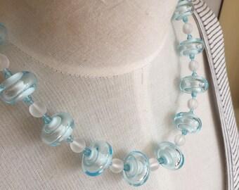 "White & Pale Aqua Necklace of Handmade Glass Hollow Beads 18"""