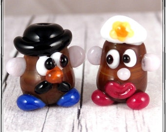 Whimsical and Fun Mr and Mrs Potato Handmade Artisan Lampwork Bead Pair for Collecting and Creating Jewelry and Crafts