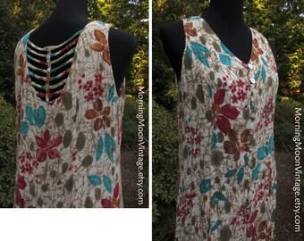 Vintage 90s Boho DRESS, Sleeveless MIDI MAXI, Beautiful Back Detail! Button-down, Floral Print Rayon Gauze, gypsy Bohemian Hippie Festival