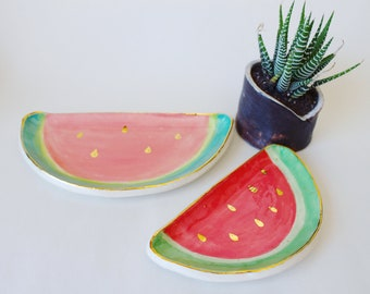 Handmade Ceramic Watermelon trinket dish in two sizes, with 22k gold details