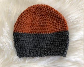 Orange and Grey Crocheted Beanie