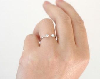 WHITE gold palladium dual stone ring.  14k solid gold dual birthstone ring. diamond engagement ring. gemstone couples ring. wedding ring.