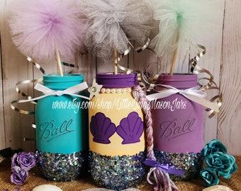 Mermaid mason jar party set, teal and purple theme, mermaid birthday party centerpiece, under the sea baby shower, room decor, desk decor