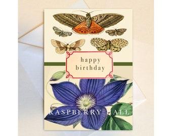 A-21- BIRTHDAY CARD - botanical - Raspberry Hall