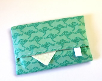 Kangaroo Travel tissue holder, Pocket tissue holder, Fabric tissue cover, Australian Gift, Turquoise Kangaroos, Australian animals