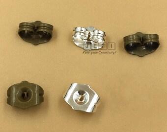 100 Brass Earring Backs 5x7mm Ear Nuts Earring Stoppers Earring Guards Antique Bronze/ Silver - Z6185