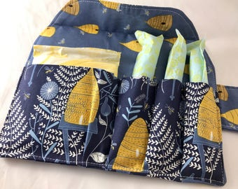 Privacy Pouch Blue Tampon Case Sanitary Pad Case  Pad Pouch Tampon Bag Tampon Holder Tampon Wallet - Honey Bee in Navy