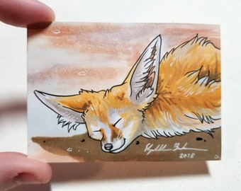 "Original ACEO ""Fennec Fox"""