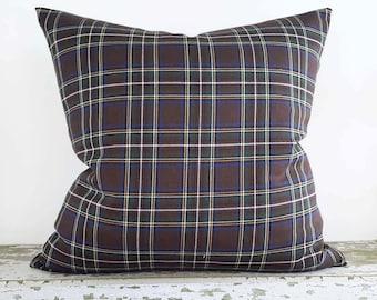 Brown Plaid Pillow, Plaid Pillow Cover, Brown Blue Pillow, Plaid Cushion, Lodge Pillows,  Men Pillows, Lumbar 12x18, 18, 20, 22, 24, 26