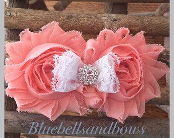 Wedding/flower girl double Shabby Flower Clip with jewel center and lace Bow-Shabby Chic -  You ChooseColors