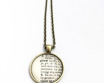 GROW Vintage Dictionary Word Pendant