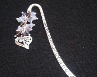 Purple crystal bead filigree heart bookmark
