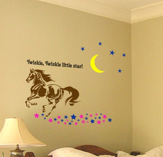 Horse wall decal girls room wall words teen girl bedroom vinyl