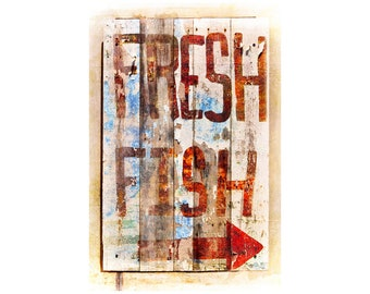 Fish Sign Photo, Fish Shack, Rustic Decor, Cabin Decor, Kitchen Art, Hand Painted Sign