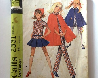 Vintage Sewing Pattern Girl's 70's Mostly Uncut, McCall's 2331, Top, Skirt, Pants, Cape (L)