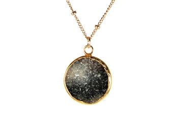 Druzy necklace -  drusy necklace - raw crystal necklace -  disc necklace - circle - a gold lined geode druzy on a 14k gold filled chain