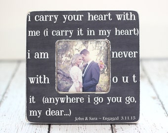 Mom Mother Gift for Wife I Carry Your Heart Quote Personalized Picture Frame Romantic Wife Gift
