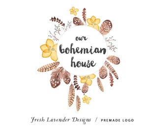 Custom Logo Design-Bohemian Logo-Logo with Feathers-Watercolor Boho Logo- Premade Logo Design- Premade Bohemian Logo- Watermark
