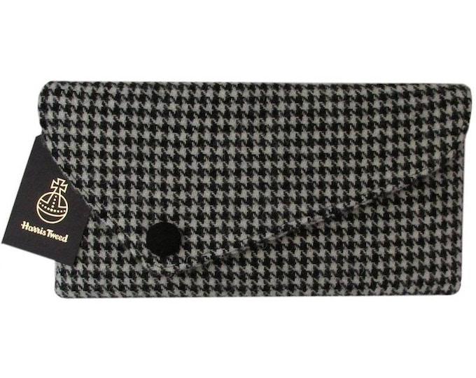 Harris Tweed Asymmetric Black Houndstooth Clutch Bag