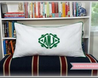 The Lisette Applique Framed Monogrammed King Pillow Sham - King 20 x 36