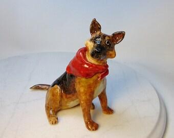 German Shepherd Dog Sculpture - Pottery Dog - Police Dog - Support Dog - Animal Sculpture