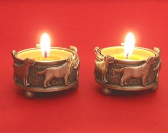 A Pair Of Labrador Retriever Pewter Tea Light Holders Mother Father Christmas Gift