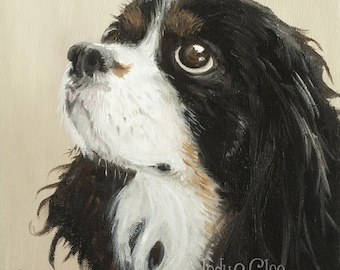 Cavalier King Charles Spaniel Art Print, Dog Art, Year of the Dog, Pet Portrait, Home Decor Wall Art, Dog Lover Gift, Indy, Indiana Jones