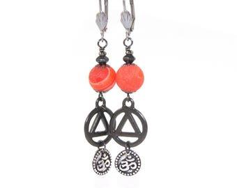 Erholung-Ohrringe, Einheit und Om Anhänger, Orange Quarz mit Edelstahl-Ohrhaken