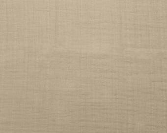 Embrace Double Gauze Fabric in Solid Embrace sand 100% Cotton Muslin fabric by the yard