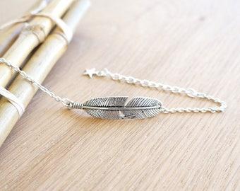 Silver metal feather Bohemian bracelet