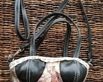 Bustier/Corset Floral Printed Leather Handbag/Cross-body purse