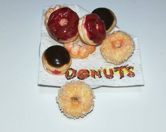4-piece Miniature Donuts scale 1:12/4 PCs miniature Donuts scale 1/12