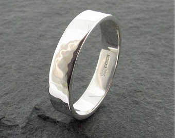 Wedding ring, hammered white gold 5mm wide, an original Water Ripples design wedding band for a men or women.